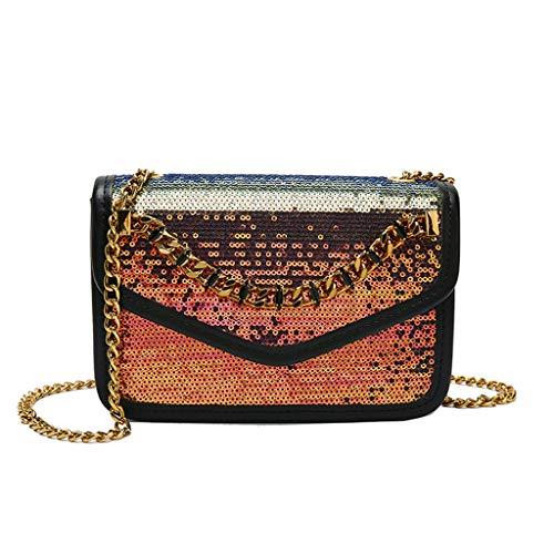 Mypace Groß Klein Umhängetasche Leder Tasche Für Damen Damenmode Pailletten Crossbody Umhängetaschen Geldbörse Messenger Bag (Gold) -