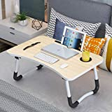 Multifunzionale Tavolino Porta PC Computer Supporto PC Portatile e Notebook Regolabile in Altezza e Inclinazione 60 * 40 Beige + Ranura de la Taza