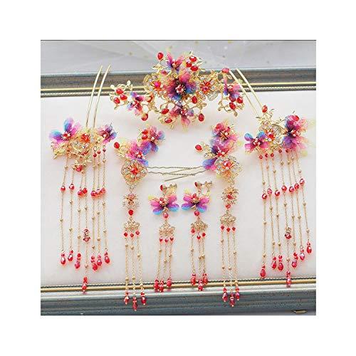 Kostüm Chinesischen Traditionellen Baby - Traditionelle chinesische Braut Kopfschmuck Kostüm antikes Perlenhaarnadel mit Ohrringen Hochzeit Schmuck S1