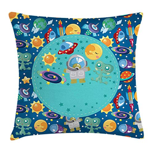 row Pillow Cushion Cover, Colorful Cartoon Space Themed Star Filled Background with Aliens and Astronaut, Decorative Square Accent Pillow Case, 18 X 18 Inches, Multicolor ()