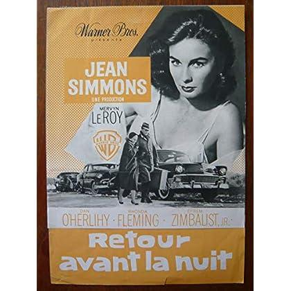 Dossier de presse de Retour avant la nuit (1958) – 24x34 cm - Film de Mervyn LeRoy avec Jean Simmons, Dan O'Herlihy – Photos N&B + résumé du scénario – Bon état.