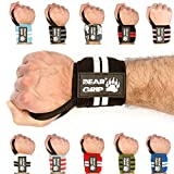 BEAR GRIP - High quality Premium weight lifting wrist support wraps, (Sold in pairs) (Black/White)