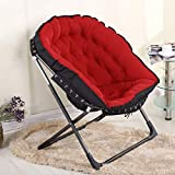 Zcxbhd Deluxe Mond Freizeit Stuhl Falten Gepolstert Runden Tragen zum Camping Indoor wandern Draussen Garten Angeln Faltbar (Farbe : Red)