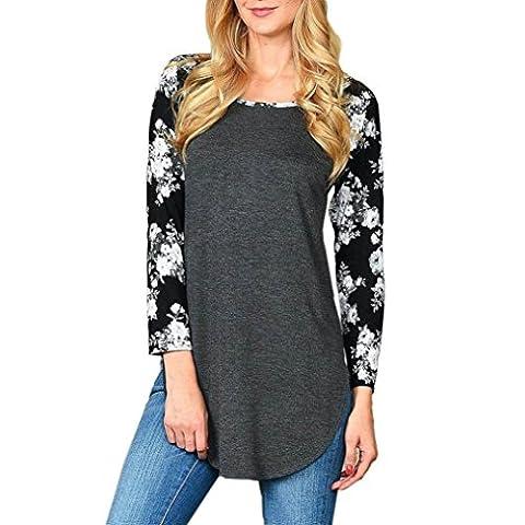 Top T-shirt Femmes,LMMVP, à Imprimé Floral Chemise Décontractée à Manches Longues T-shirt (l, noir)