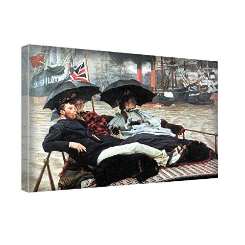 tissot-the-thames-canvas-wall-art-trabajo-estirado-y-enmarcado-modern-art-deco-paintings-tamao-24x30