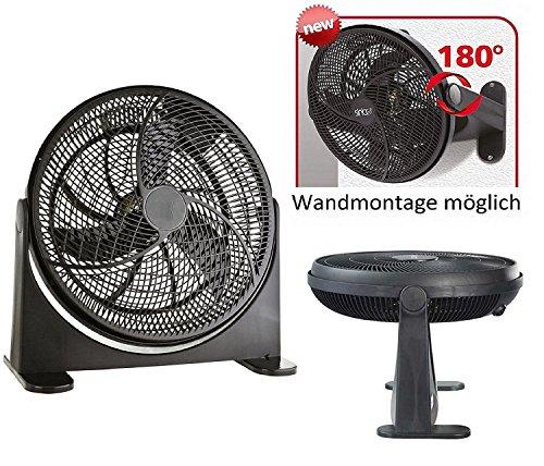 Bodenventilator | Power Windmaschine | Ventilator | Wandventilator | Standventilator | Luftkühler | 180° neigbar | Wandmontage möglich | (Ø41cm 75 Watt, Schwarz) (Klimaanlage Ventilator Motor)