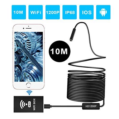ERAY Wireless Endoscopio WiFi, Telecamera d\'ispezione 2.0 MP HD 1200P IP68 Impermeabile con 8 LED, Macchina Fotografica Semi-rigida Supporta Sistemi Android/IOS / Windows e Mac (33FT)