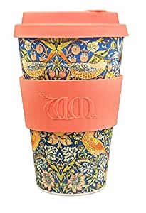 Ecoffee Cup + William Morris: Thief with Coral Silicone 14oz, Reusable and Eco Friendly Takeaway Coffee Cup
