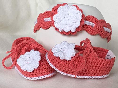 Newborn Baby-Geschenk-Set Girlie - Babyschuhe Ballerinas + Haarband - gehäkelt - Newborn Fotografie