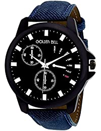 Golden Bell Original Chronograph Look Black Dial Blue Denim Strap Analog Wrist Watch For Men - GB-643