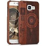 kwmobile Coque en bois véritable avec Design caméra pour Samsung Galaxy A5 (2016) en bois de rose brun foncé