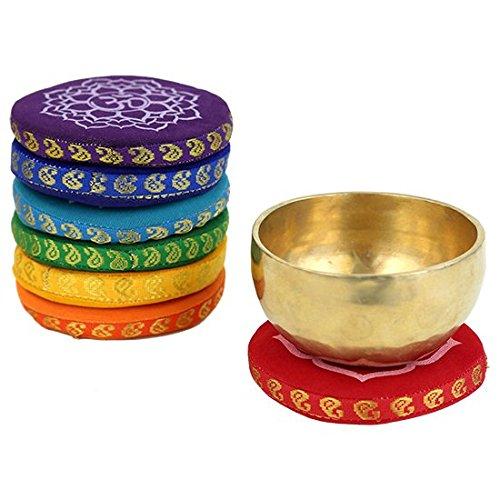 1 x Klangschalenkissen 7 Chakren - Farbe: orange - Chakra 2 Svadhisthana Sakral Chakra - 9,5 cm - CUTE NAILS