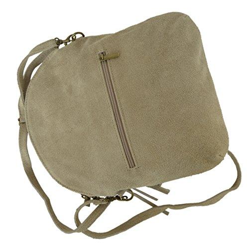 Leder- Messenger- / Umhängetasche Tasche aus echt.Velour-/ Wildleder , Minibag Italy helltaupe/ beige
