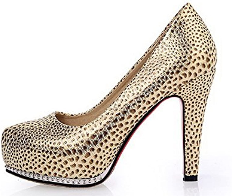 AllhqFashion Mujer PU Cordón Tacón Alto Material Suave Puntera Redonda Zapatos de Tacón -