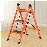 AJZGF Home Klappleiter, Eisen isolierte Leiter, Mehrzweckleiter, tragbare einseitige Leiter. - Tritthocker (Farbe : Orange)