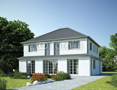 """Alu-Dibond-Bild 120 x 90 cm: """"Haus Staffel weiß mit Sprossenfenster"""", Bild auf Alu-Dibond"""