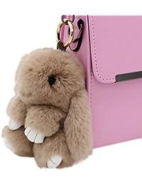 80Store El más nuevo regalo de la Navidad Faux Fur Cute Mini conejo muñeca llavero Car