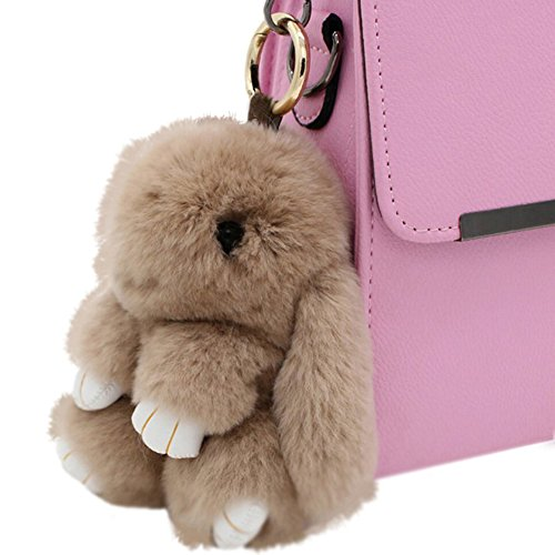 80Store Neuester Weihnachtsgeschenk Faux Pelz Nette Mini Kaninchen Puppe Keychain Auto Schlüsselring Frauen Beutel Charme Handtaschen Anhänger 13CM (Paar Ideen Für Halloween)