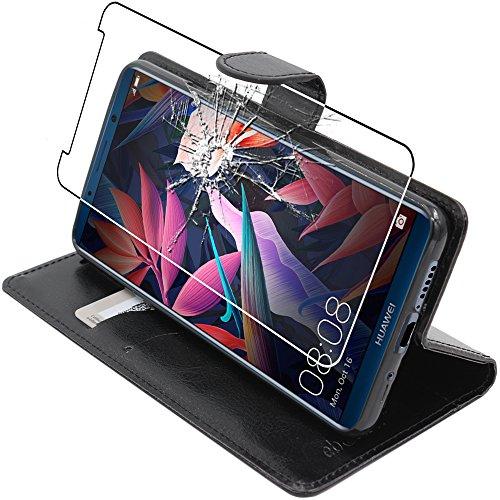 ebestStar - Huawei Mate 10 Pro 2017 Hülle Mate 10 Pro 2017 Kunstleder Wallet Case Handyhülle [PU Leder], Kartenfächern Standfunktion, Schwarz +Panzerglas Schutzfolie [Phone:154.2 x 74.5 x 7.9mm 6.0
