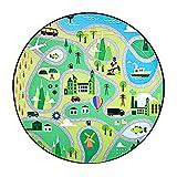 Tappeto per bambini Mappa stradale Tappetino da gioco, Parco tematico Area giochi per bambini Tappeti City Life Cars Strade Bambino Tappeto grande per sala giochi Camera dei bambini@3'11 '' Round_Parc