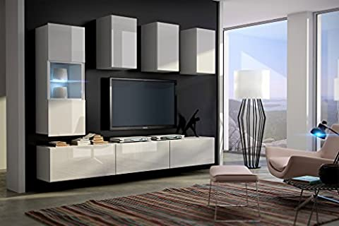 FUTURE 4 Modern Living Room Furniture Set, Exclusive Entertainment Unit With Shelves, Brand New Suite, TV Stand / Cabinet / Shelf, Push To Open / Standard Handles Wall Cabinets, Mat / High Gloss, Black / White / More Colours, Free Delivery (RGB LED Lighting Available) (White MAT base / White HG front, White