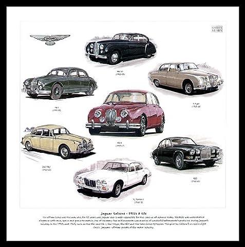 Jaguar Car Art Print - XJ Series 1 420 240 340 Mk2 Mk1 S-type Mk7 1950s 1960s