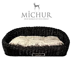 michur sylt hundebett hundekorb luxus rattan weide korb bett mocca ca 80cm ca 120cm. Black Bedroom Furniture Sets. Home Design Ideas