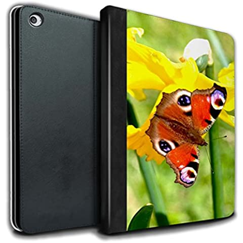 STUFF4 PU Pelle Custodia/Cover/Caso Libro per Apple iPad Air 2 tablet / Farfalla / Fiori del giardino floreale disegno