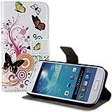 kwmobile Hülle für Samsung Galaxy S4 Mini i9190 / i9195 - Wallet Case Handy Schutzhülle Kunstleder - Handycover Klapphülle mit Kartenfach und Ständer Schmetterlinge Hippie Design Mehrfarbig Pink Weiß
