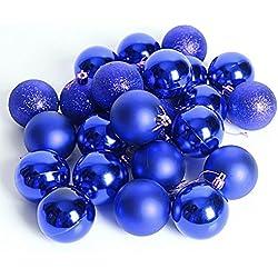 24 Pcs Palle di Natale Barrel placcatura multicolore di Natale Palla ornamenti 40mm (Blu)