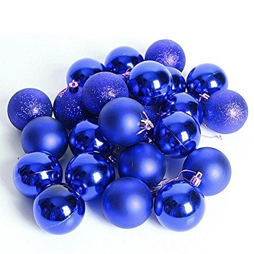 kingtoys® 24 Pcs Palle di Natale Barrel placcatura multicolore di Natale Palla ornamenti 40mm