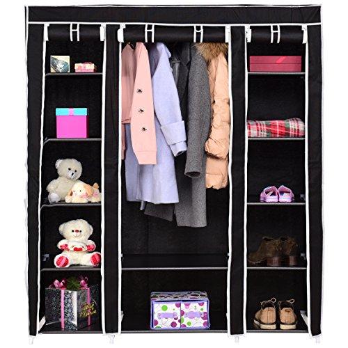 COSTWAY Kleiderschrank Stoffschrank Textilschrank Garderobenschrank Faltschrank Wäscheschrank Campingschrank mit Kleiderstange 150x46x179cm (schwarz)