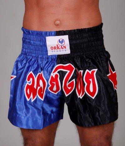 Tempesta Sports Thai Box Pantaloni da Muay Thai, Kickboxing Short Blu/Nero, Unisex, Blau, L