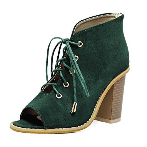 LvYuan-mxx Sandales femme / Printemps Été / daim / Sangles creux / gros orteils Poitrine bouche chaussures / Confort Casual / Bureau & Carrière Robe / Bottes cool / Talons hauts GREEN-39