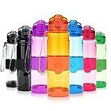 Grsta Sport Trinkflasche, 700ml/24oz - BPA frei Tritan Kunststoff Wasserflasche, Auslaufsicher Sporttrinkflaschen für Laufen, Yoga, Fahrrad, Kinder Schule, Wasser Flaschen mit Sieb (G-Orange)