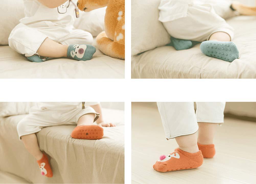 Estwell 6 Pares Calcetines Bebé Antideslizante Infantil Niños Niñas Invierno Grueso Calcetines Animados 2