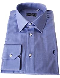 DOMENICO AMMENDOLA Camicia Firenze Celeste Scuro,Regular Fit, Made in Italy (41)