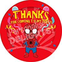 Superhero Spider Kid Sticker Labels (24 Stickers, 4.5cm Each) NON PERSONALISED Seals Ideal for Party Bags, Sweet Cones, Favours, Jars, Presentations Gift Boxes, Bottles, Crafts