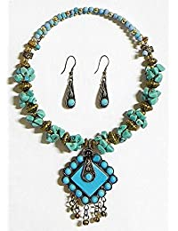 DollsofIndia Blue Stone Chips Tibetan Spring Necklace With Earrings - Stone And Metal (FY15-mod) - Blue