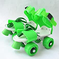 FunBlast Adjustable Quad Roller Skates (Green)