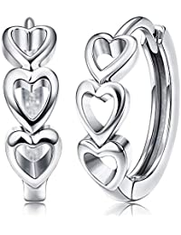 e964d8aeae6e Yadoca Plata de ley 925 Pequeños Pendientes de Aro para Mujeres Damas Forma  de Corazón Amor