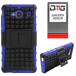 DMG Dual Hybrid Hard Grip Rugged Kickstand Armor Case for Xiaomi Redmi 2 (Blue) + Tempered Glass Screen Protector