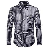Élégant Stripe Bouton d'homme Chemisier à Manches Longues Casual Top Blouse Chemises à Malloom Chemises de Bureau