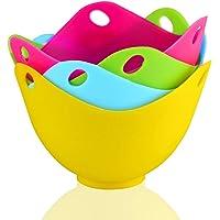 Andux Bracconiere per Uova Set di 4 uUova in Camicia Perfette per Cucinare ZDQ 02 Colori casuali