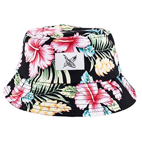 Phoenix Paradise Bucket Hat Unisex Sonnenhut Fischerhut Schwarz mit Blumenmuster (Schwarze Bucket Hat Damen)