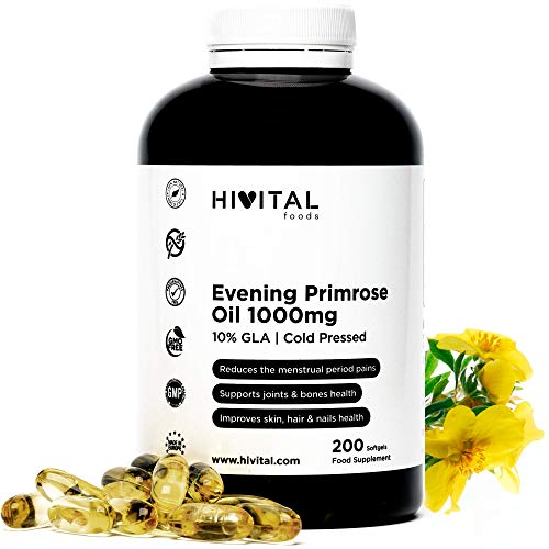 Nachtkerzenöl 1000 mg Kaltgepresst | 200 Softgel-Kapseln | Mit 10% Omega-6 Gamma-Linolensäure | Hormonhaushalt der Frau reguliert und hilft, gesunde Gelenke, Knochen, Haut, Haare und Nägel zu erhalten