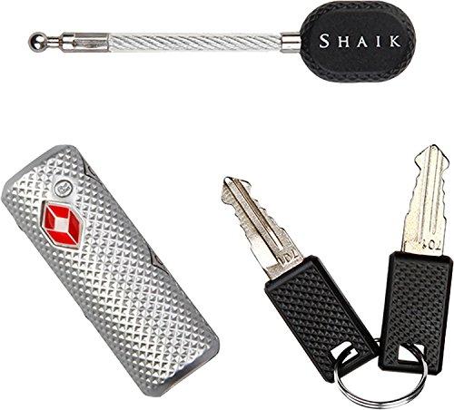 SHAIK® TSA Design Schloss mit Kabelpin Gepäckschloss Ultra Leicht für Laptoptasche Rucksack Koffer Handtasche Damentasche Sporttasche, 3 Farben, 2 Schlüssel (Silber)