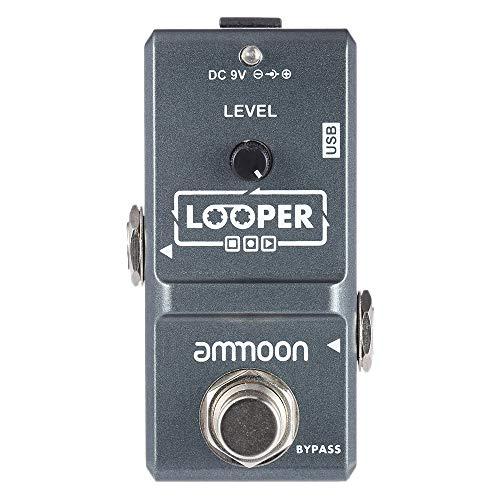 ammoon AP-09 Mini Loop Chitarra Elettrica Semplice Effetto a Pedale Looper Illimitato Sovraincisioni 10 Minuti di Registrazione True Bypass con cavo USB (Grigio)