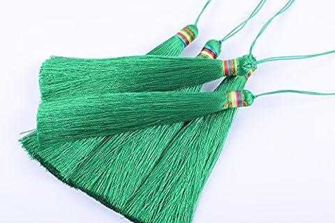 Konmay 5pcs 14,2cm (14.0cm) Soft Long soyeux faite à la main Tassel avec Rainbow Band pour projet de bricolage vert kelly