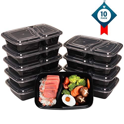 Oitugg 2 scomparti contenitori alimentari con coperchio, impilabile, lavabile in lavastoviglie e microonde, set di scatole da pranzo-10 pack by